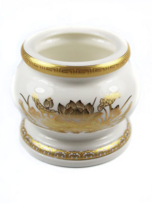Gold Lotus Porcelain Incense Burner 2