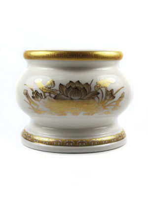 Gold Lotus Porcelain Incense Burner (Medium) 1