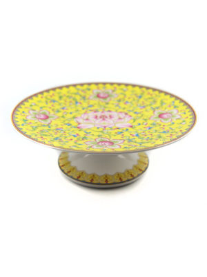 Lotus Porcelain Offering Plate in Yellow 2