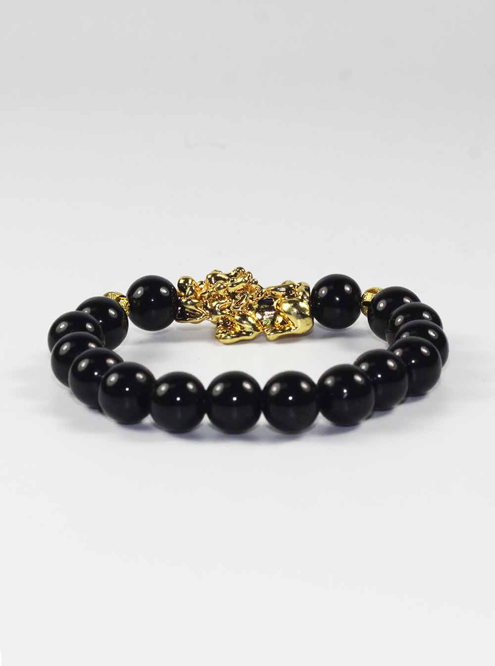 black wide gold inicio mini macrame eye bracelet round