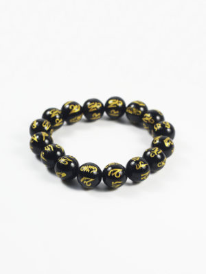 Black Agate with Six-syllables Mantra Bracelet (12mm) 2