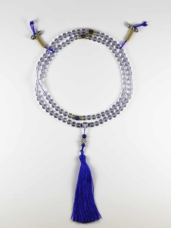 Clear Crystal Quartz Mala 108 Beads (8mm) with Counter 1