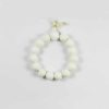 White Tridacna Lotus-shaped Beads Bracelet (12mm) 1