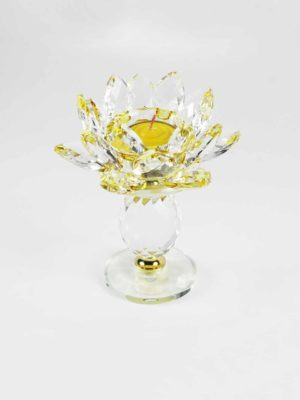 Yellow Crystal Lotus Candle Holder (Tall) 4