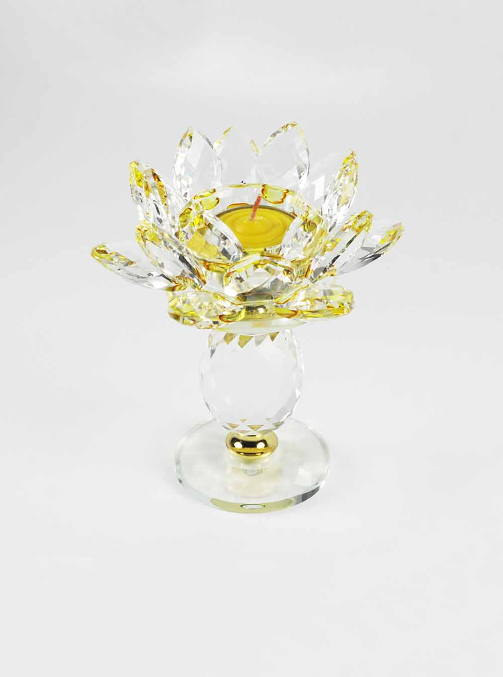 Yellow Crystal Lotus Candle Holder Tall Ren Ting Online