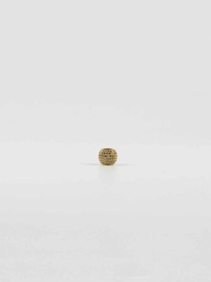 Gold Drum-shaped Bead with Diamonte 1