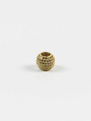 Gold Drum-shaped Bead with Diamonte 2