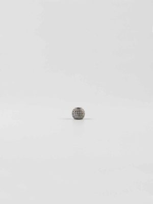 Silver Drum-shaped Bead with Diamonte 1