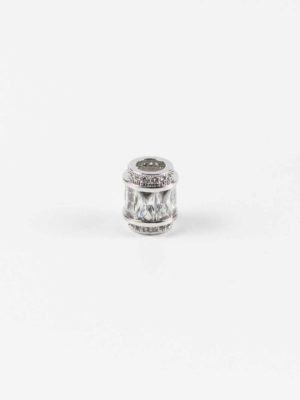 Stainless Steel Cylinder Bead with Rectangular Diamonte 2