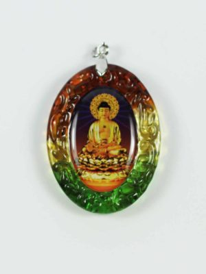 Amitabha Buddha Colour-glazed Glass Pendant 1