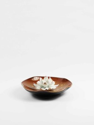 Lotus on Leaf Incense Burner (Brown) 1