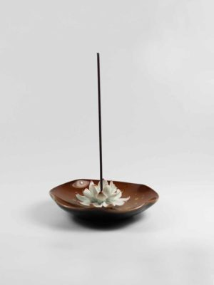 Lotus on Leaf Incense Burner (Brown) 2
