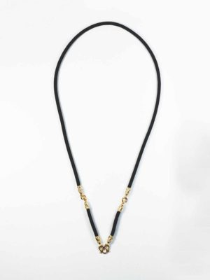 Black Nylon String Three Hooks Amulet Necklace in Gold (69cm) 1