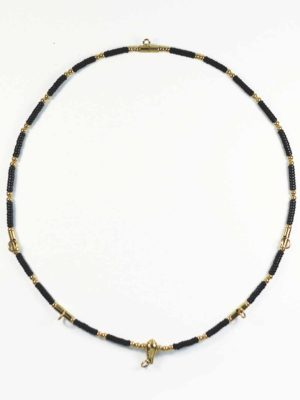Coconut Shell Five + One Hooks Amulet Necklace with Gold Beads (71cm) 1