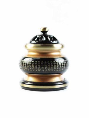The Great Compassionate Mantra Black and Gold Incense Burner (Medium) 2