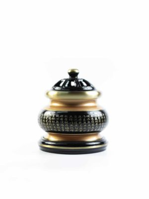 The Great Compassionate Mantra Black and Gold Incense Burner (Small) 2