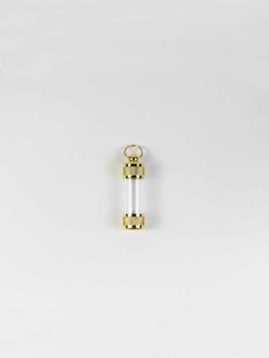 Gold Screw Cap Glass Tube Pendant (3.5cm) 1