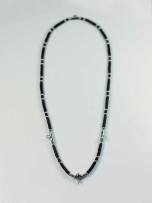 Coconut Shell Three + One Hooks Amulet Necklace with Silver Beads (69cm) 1