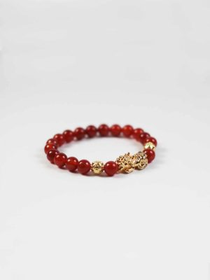 Red Agate Bracelet with Gold-plated Pixiu 2