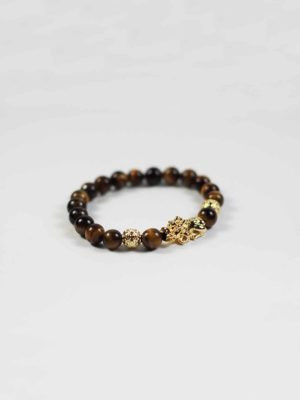 Yellow Tiger Eye Bracelet with Gold-plated Pixiu 2