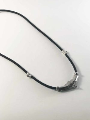 Black Nylon String Three + One Hooks Amulet Necklace in Silver (71cm) 2