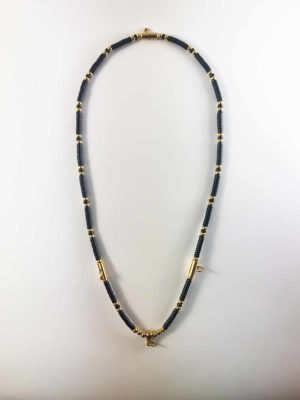 Coconut Shell Three + One Hooks Amulet Necklace with Gold Beads (66cm) 1