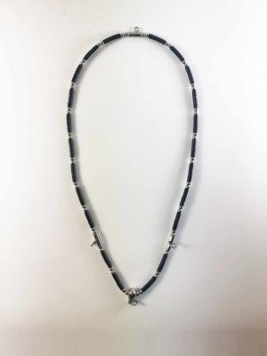 Coconut Shell Three + One Hooks Amulet Necklace with Silver Beads (73cm) 1