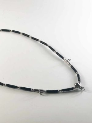 Coconut Shell Three + One Hooks Amulet Necklace with Silver Beads (73cm) 2