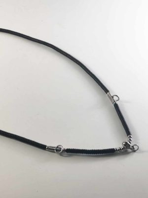 Coconut Shell Three + One Hooks Amulet Necklace with Silver Beads (76cm) 2
