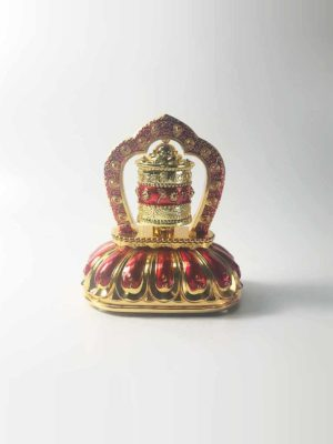 Solar-Powered Six-Syllables Mantra Red Prayer Wheel 1