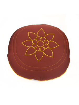 Circular Cotton Cushion with Lotus Embroidery II
