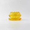 Lotus Colour Glazed Glass Candle Holder in Yellow 1