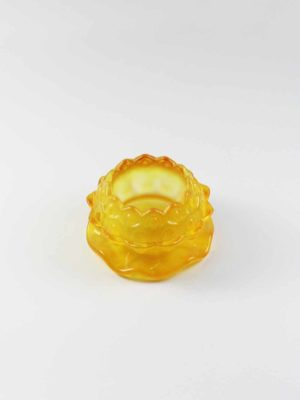 Lotus Colour Glazed Glass Candle Holder in Yellow 2
