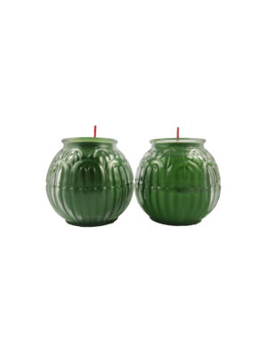 Lotus Embossed Shortening Candle Lamp in Green (Small)