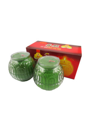 Lotus Embossed Shortening Candle Lamp in Green (Small) II