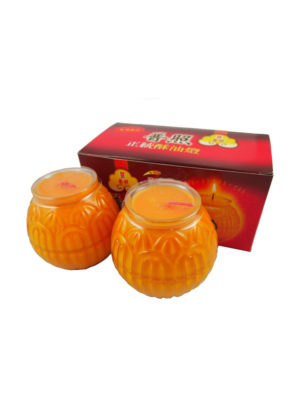 Lotus Embossed Shortening Candle Lamp in Orange (Small) II