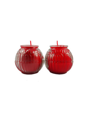 Lotus Embossed Shortening Candle Lamp in Red (Small)