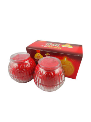Lotus Embossed Shortening Candle Lamp in Red (Small) II