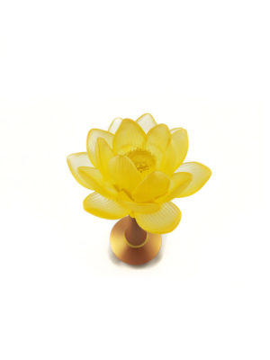 Colour Glazed Glass Blooming Lotus Lamp in Amber (21cm) 2