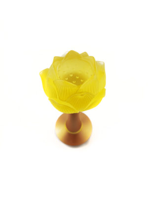 Colour Glazed Glass Lotus Lamp in Amber (19.5cm) 2