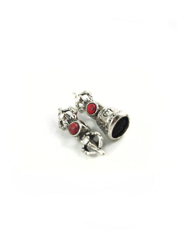 Mini Nickel-plated Vajra & Bell Set with Red & Blue Stone Charm 3