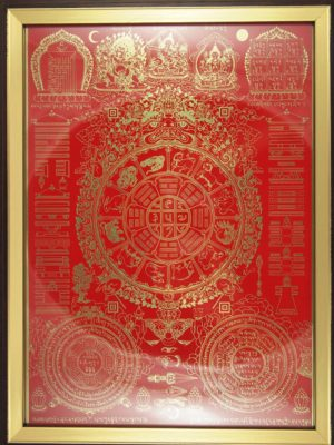 Nine-Palace-Ba-Gua-with-Red-Background-Brown-Frame-2