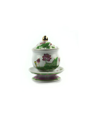 Coloured Lotus Offering Cup with Lid (Small) 1