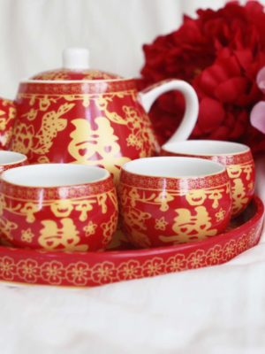 Double Happiness Red & Gold Tea Set 2