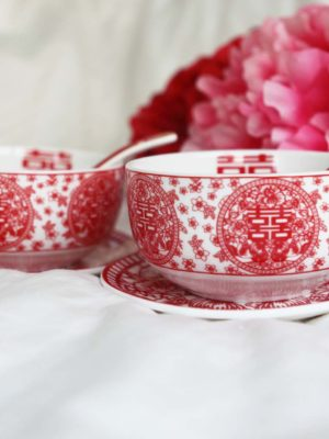 Double Happiness Red Paper Cutting Rounded Bowl Set 2