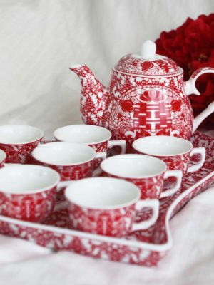 Double Happiness Red Paper Cutting Tea Set 2