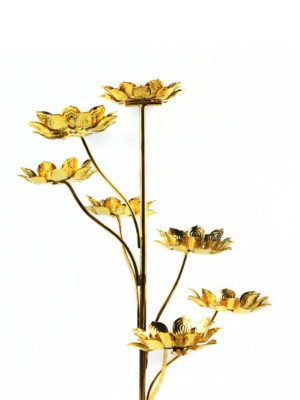 Seven Candles Lotus Holder Stand in Gold 2