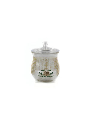 Transparent Glass Great Compassion Mantra Offering Cup with Lid 1
