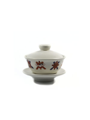 White Eight Auspicious Symbols Offering Cup with Lid 2