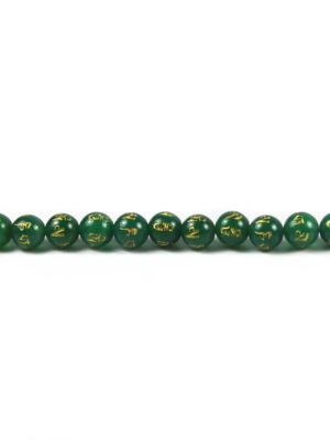 Green Agate 10mm Beads with Six-syllables Mantra